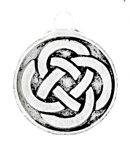 "5 Antique Silver Celtic Eternal Knot in Circle Charm  23 x 20 mm(7/8""x 6/8"")"